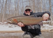 Massive 15 lb Muskegon river steelhead caught in February
