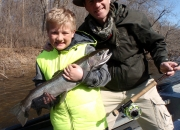 9 year old CJ with his first ever steelhead taken on a fly rod