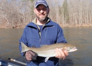 Josh with a Muskegon river steelhead