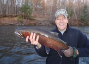 Jim with a crimson red Muskegon river steelhead