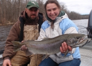 Kate holding her first ever steelhead