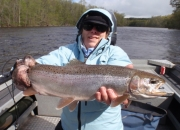 Penny with her first ever steelhead taken on a fly rod