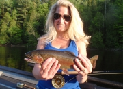Amy's first ever trout caught with a dry fly