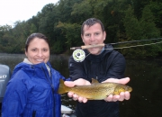 Scott & Nicole with a nice Brown Trout taken with a dry fly