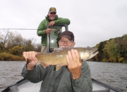 Jim with a scrappy Muskegon River Salmon