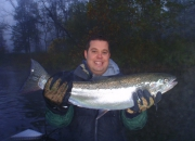 Josh with his first ever Muskegon River Fall Steelhead on a fly rod