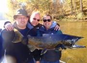 Jeff, Dave, & Jon with a Muskegon River Salmon