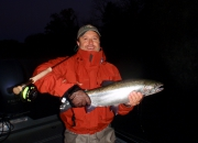 Sten with his first ever Muskegon river fall steelhead 2013 on a fly rod