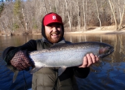 Justin with a nice Muskegon river steelhead