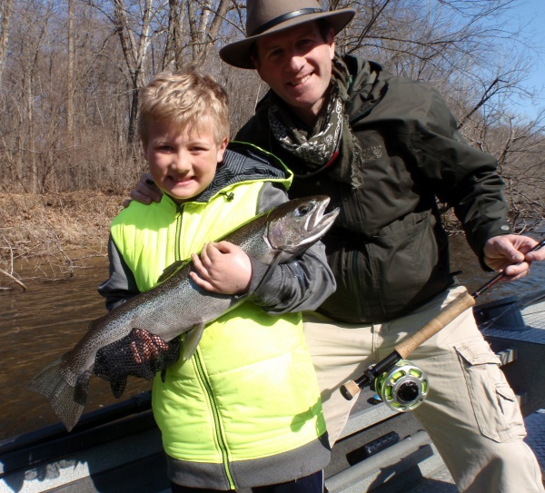 9 year old CJ with his first ever steelhead