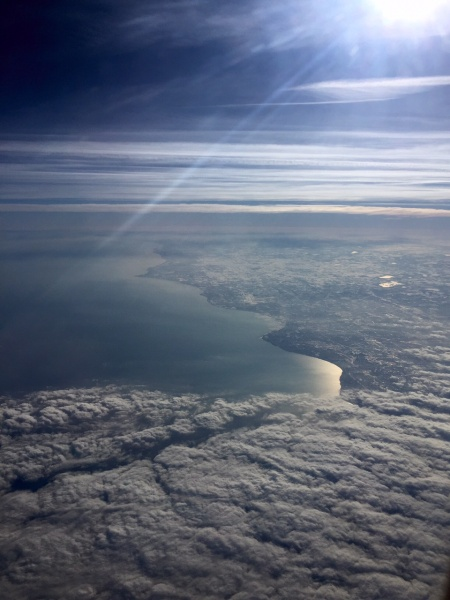 View of Lake Michigan from 20,000 feet