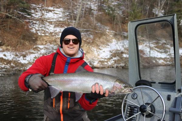 David with another nice chrome steelhead from his January winter steelhead trip